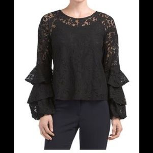 Solitaire Lace Ruffle Bell Sleeves Navy Blouse A78